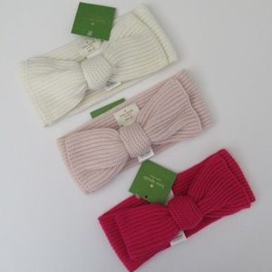 NWT Kate Spade Solid Bow Winter Headband Hat NEW